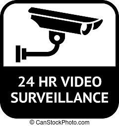 cctv, símbolo, vigilancia video