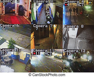 cctv screen monitor - various cctv camera screens of buidlng...