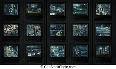 CCTV Screens Showing City At Night