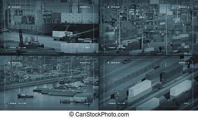 CCTV Screens Showing Industrial Areas - CCTV screen quad...