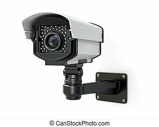 CCTV security camera. - CCTV security camera on white...