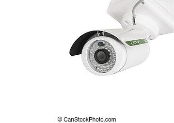 CCTV, security camera isolated on white background.