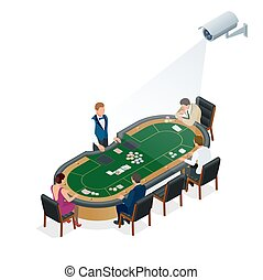 CCTV security camera on isometric illustration of people playing poker at the casino. 3d isometric vector illustration.