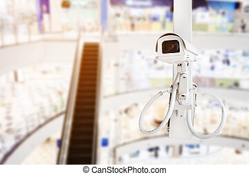 CCTV security camera with shopping mall background