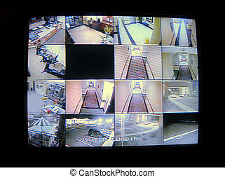 A real cctv security system with multiple camera views of a hotel. (12MP camera)