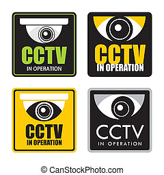 cctv - Set of surveillance CCTV signs, vector.