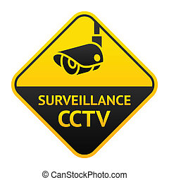 CCTV sign, video surveillance symbol - Warning Sticker for...