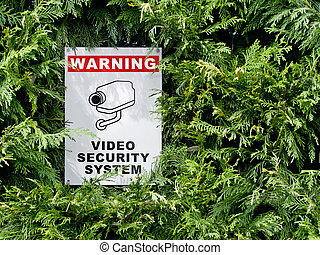 cctv signboard - video security system warning signboard on...