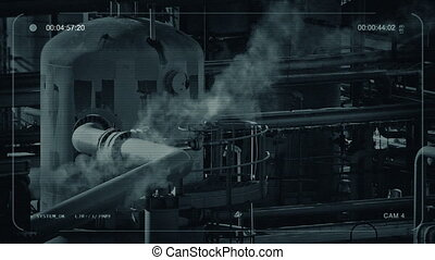 CCTV Smoking Industrial Facility - CCTV view of industrial...