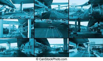 CCTV split screen surveillance