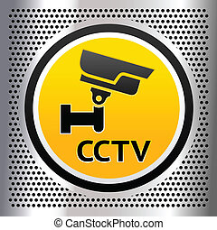 CCTV symbol on a chromium background - CCTV symbol on a...