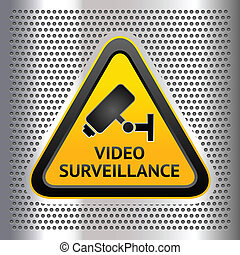 CCTV symbol, on a chromium background, vector