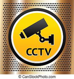 CCTV symbol on a golden background