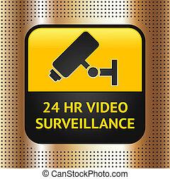 CCTV symbol on a golden metallic background