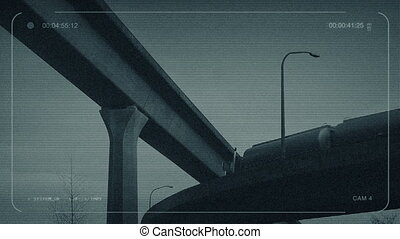 CCTV Tanker Truck Drives Overhead - CCTV view of tanker...