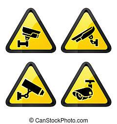 CCTV triangular labels, set symbol video surveillance