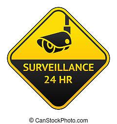 cctv, vídeo, adesivo, pictograma, vigilância