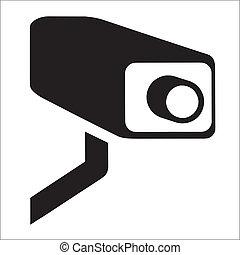 CCTV vector - White Surveillance Camera (CCTV) Warning Sign