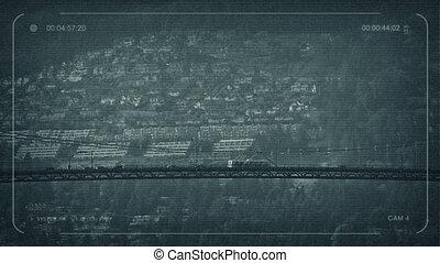 CCTV Vehicles On Suspension Bridge - CCTV view of cars and...