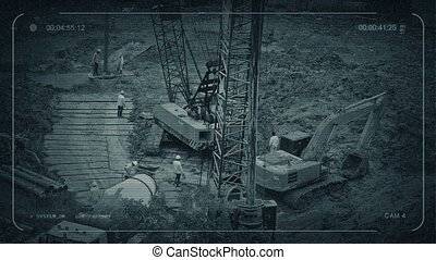 CCTV View Of Workers On Construction Site