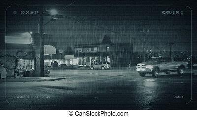 cctv, voitures, et, gens, passe, restaurants, soir