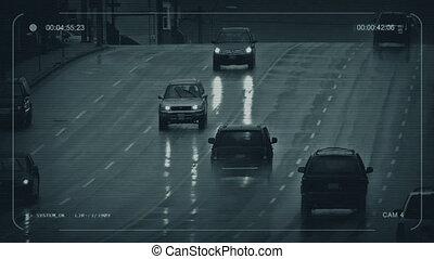 cctv, voitures, sur, jour pluvieux, dans, ville