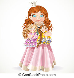 CCute little princess girl holding in arms dolls isolated on a white background