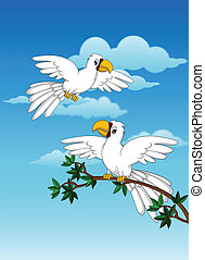 ccutte cuple white parrot - vector illustration of cutte...