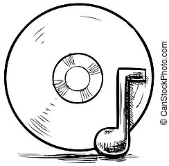 Cd and music note