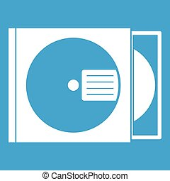 CD box with disc icon white