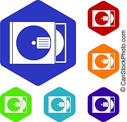 CD box with disc icons set hexagon