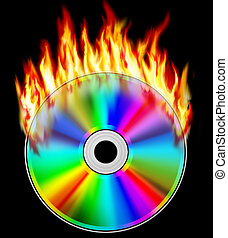 Burning compact disk on a black background