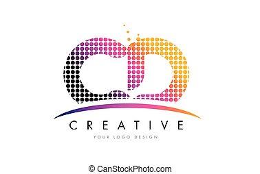 cd, c, d, letra, logotipo, desenho, com, magenta, pontos, e,...