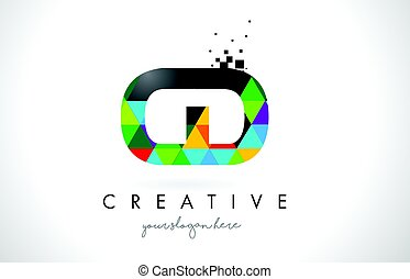 CD C D Letter Logo with Colorful Triangles Texture Design Vector.