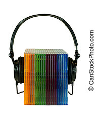 headphones wrapped around numerous compact disc cases