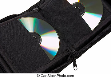 CD compact disc in pocket cover isolated on a white...