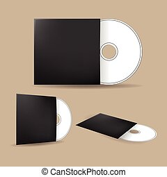 CD Cover Disk Mock Up Template Vector