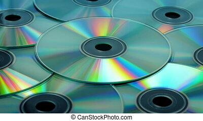CD Discs Rotating - Cds rotating slowly closeup
