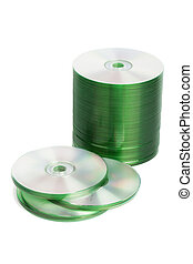 cd disk stack isolated - cd disk stack image isolated on a...