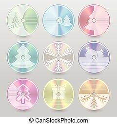 cd, dvd, blu, promień, boże narodzenie, osłona, projekty