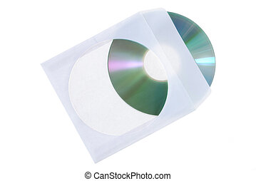 CD dvd blue ray with paper case isolated on a white ...