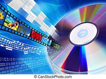 cd, /, dvd, comme, multimédia, contenu