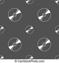 Cd, DVD, compact disk, blue ray icon sign. Seamless pattern on a gray background. Vector