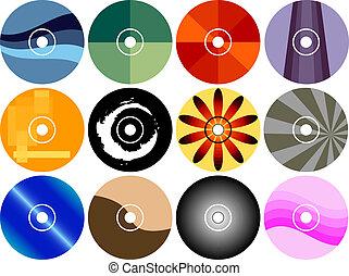 cd, dvd, conjunto, etiqueta