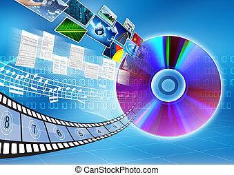 cd, /, dvd, gegevensopslag, concept