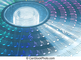 CD DVD HD Blu-ray - Bright disc with music notes around....