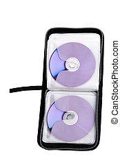 cd, dvd, reisekoffer, auf, a, weiß ba