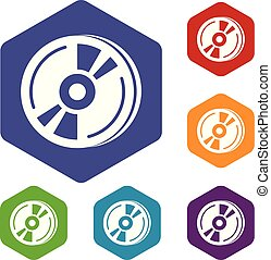 cd, hexahedron, wektor, ikony