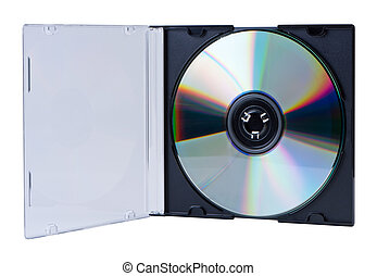 CD in the open box isolated.