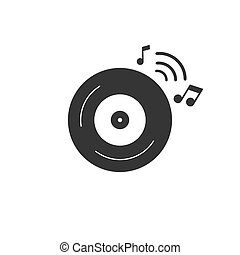 CD music icon in flat style. Vector illustration